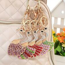 Peacock Peafowl Keychain Crystal Keyring Key Ring Chain Bag Charm Pendant J8B8