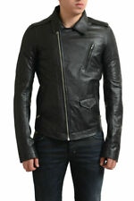 Rick Owens Men's Black 100% Calf Leather Full Zip Motorcycle Jacket US S M