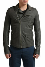 Rick Owens Men's Gray Distressed Look 100% Leather Motorcycle Jacket US S M