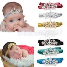 Baby Infant Girls Hair Band Bow Headband Rhinestone Crown Hair Accessories