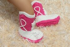 New Handmade Crochet White Hot Pink Cowboy Baby Boots Shoes Newborn Photo Props