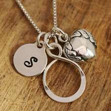 Sterling Silver Personalised Infinity Love Lariat Angel Heart Charms Necklace