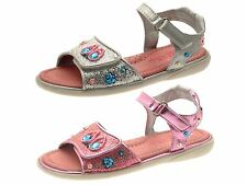 Girls Glitter Sandals With Adjustable Velcro Straps Sequin Flowers Open Toe Size