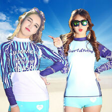Ladies Rash Guard Women Long Sleeve Swim Shirt Surf Swimwear SPF Sun Beach Top