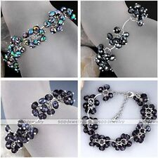 Fashion Women Flower Blossom Faceted Crystal Glass Bead Chain Bangle Bracelet