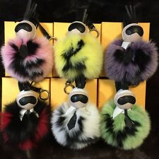 "Real Fox Fur 6"" pompom Ball Monster KARL Bag Bug Car Charm Key Chain key ring"