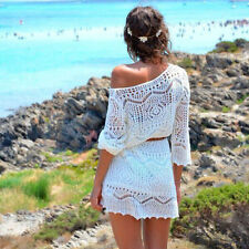 Sexy Women Summer Mini Dress 3/4 Sleeve Hollow Out Lace Beach Dresses With Belt