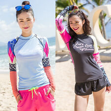 Woman Rash Guard Long Sleeve Swim Shirt Surfing Swimwear Sun Top Athletic Wear