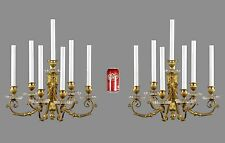 HUGE Period Antique Bronze & Crystal Wall Sconces c1880 Vintage Gold Wall Lights