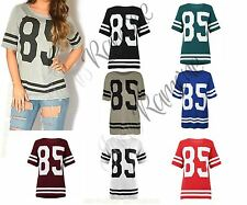 New Ladies Womens American Baseball Varsity Striped 85 Printed Baggy T Shirt Top