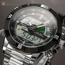 Shark Men LCD Quartz Date Day Stainless Steel Alarm Sport Wrist Watch