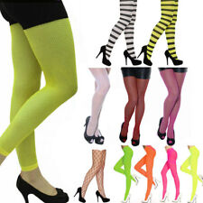 New Ladies Fishnet, Stripped, Plain, Opaque Full Footless Fancy Dress Tights