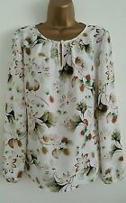 NEW M&S MARKS & SPENCER 8-22 White Ivory Floral Leaf Print Chiffon Top Blouse