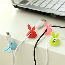 4Pcs Rabbit Cable Drop Clips Desk Tidy Organiser USB Charger Holder Wire Cord