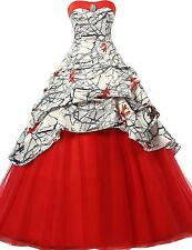 Women's Sweetheart Quinceanera Long Tulle Evening Camo Bridal Gown Custom Sizes