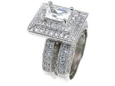 3.25 TCW .925 Sterling Silver Emerald Cut Pave Halo CZ Wedding Ring Set Size 5-9