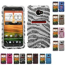 For HTC EVO 4G LTE Black Skin Diamante Bling Protector Case Cover