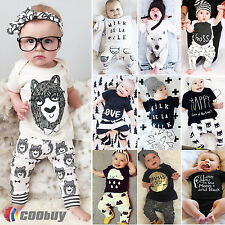 Newborn Baby Boys Girls 2pcs Outfits T-shirt Top + Trouser Clothes Outfit Set