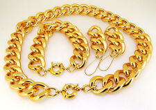Newest Shiny Cut GOLD Chunky Aluminium Curb Chain Necklace Bracelet Earring/set