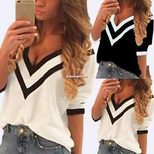 Spring Summer Women T-shirt Tops Blouse Sexy Striped V Neck Casual Tee Shirt