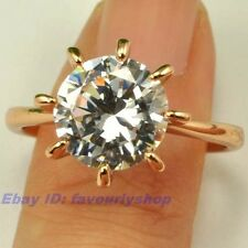 5.5,7#  2.5ct CZ SOLITAIRE RING 8-CLAW 18K ROSE GOLD PLATED FILL SOLID GEP