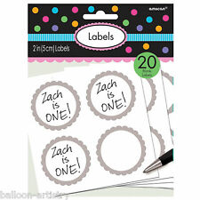 20 x Silver Birthday Children's Party Candy Paper Blank Labels Stickers