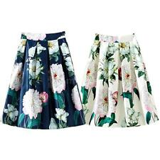 Women Peony Floral Print A-Line Pleated Elastic High Waist Zipper Skirt G1I7