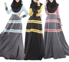 Muslim Stripe Long Sleeve Dress Abaya Kaftan Islamic Maxi Arab Jilbab Clothes