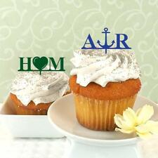 12 Initials Icon Personalized Acrylic Wedding Bridal Shower Cupcake Topper Pick