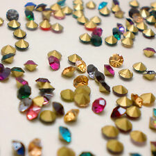 Mixed Colors Rhinestones Point back Glass Chatons Strass Crystal Beads CA
