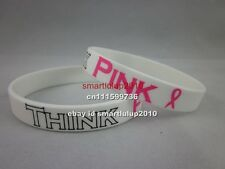 50pcs/lot Think Pink Ribbon Breast Cancer Awareness of Breast Cancer Wristband