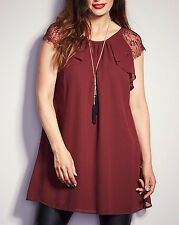 Label Be / Simply Be OXBLOOD Lace Trim Tunic Top Sizes 12 to 30 (RRP £35.00)