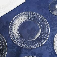 """Plastic 7"""" Clear ROUND PLATES Basketweave Party Wedding Disposable TABLEWARE"""