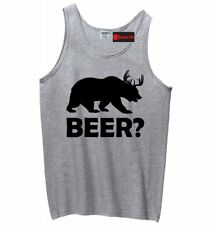 Beer Deer Bear Funny Mens Tank Top Hunting Guns Beer Party Sleeveless Shirt Z3