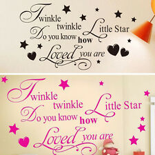 Twinkle Little Star Quote Wall Sticker Hearts Nursery Children Decor
