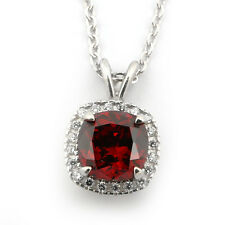 Sterling Silver Simulated Garnet & Cubic Zirconia 9mm Cushion Cut Halo Necklace