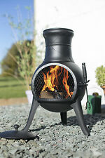 (free cover) La Hacienda Black Steel 72cm Chiminea Patio Heater Wood Burner