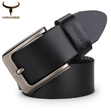 Men's Genuine Real Leather Waist Belt Waistband Strap Girdle Smooth Buckle New
