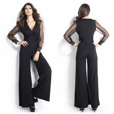 Women Long Sleeve Casual Party Wide Long Pants Trousers Playsuit Jumpsuit Romper