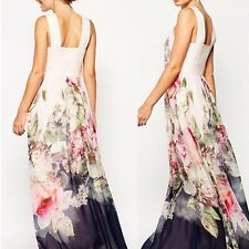 Womens Summer Sexy Chiffon Long Maxi Party Evening Cocktail Floral Print Dress