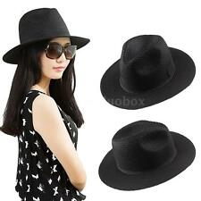 Cool Fedora Gangster Women Sun Hat Summer Floppy Beach Straw Hat Trilby Cap N6O7