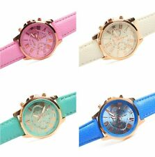 Girl 's Women's Geneva Silicone Quartz Golden Crystal Stone Jelly Wrist Watch