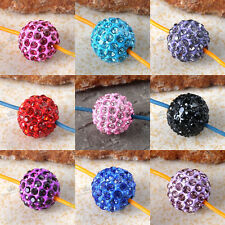 5x Crystal Rhinestone 10mm Round Ball Spacer Loose Beads For Jewelry Making DIY