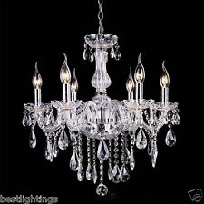 PROVINCIAL VINTAGE CHANDELIER 6 LIGHT FRENCH BLACK WHITE CLEAR CRYSTALS GLASS