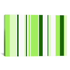 iCanvas Sour Apple Green Striped Graphic Art on Wrapped Canvas