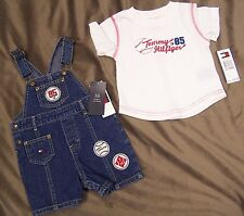 NWT Tommy Hilfiger TH Denim Shortall Overalls OR Overalls & Shirt Set 6-12 mo