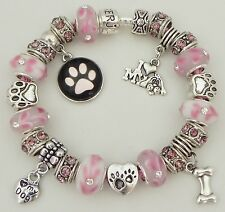 I Love My Dog Dangle Charm & Bead on Pink Authentic Serjaden Charm Bracelet #072