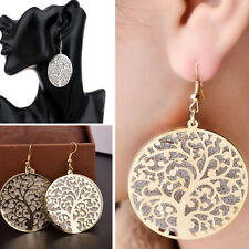 Hot Women's Jewelry Gold Silver Plated Tree Of Life Round Drop Ear Stud Earrings