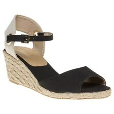 New Womens SOLESISTER Black Lizzy Canvas Sandals Platforms Buckle