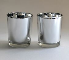"Silver Votive Candle Holders Mercury Glass Set 2.5"" H Tealight Tea Light Holder"